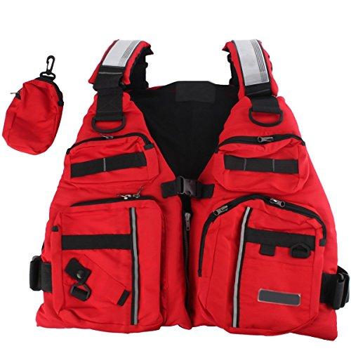 BINKBANG Life Vest, Red Adult Watersport Boating Vest Swimming Life Jacket Buoyancy Aid Sailing Kayak Canoeing Fishing Jacket Vest with Extra Pocket