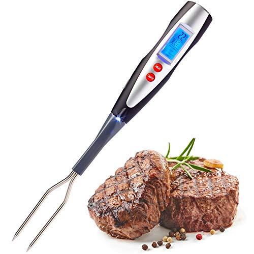 Westmark/Carne de Barbacoa Tenedor con termómetro Integrado, 38,5cm, Pantalla LED y Linterna, Acero Inoxidable/plástico, Plata/Negro/Rojo, 15042280