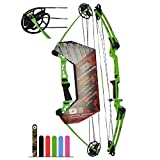 """Southwest Archery Ninja Kids Youth Compound Bow Kit - Fully Adjustable 20-29"""" Draw 10-20LB Pull - 55% Let Off - Pre-Installed Arrow Rest - Finger Saver String - RH, Green"""