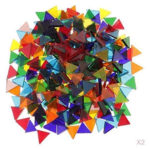 320g piezas de mosaico de vidrio de triángulo transparente de color mezclado para manualidades de 14 mm