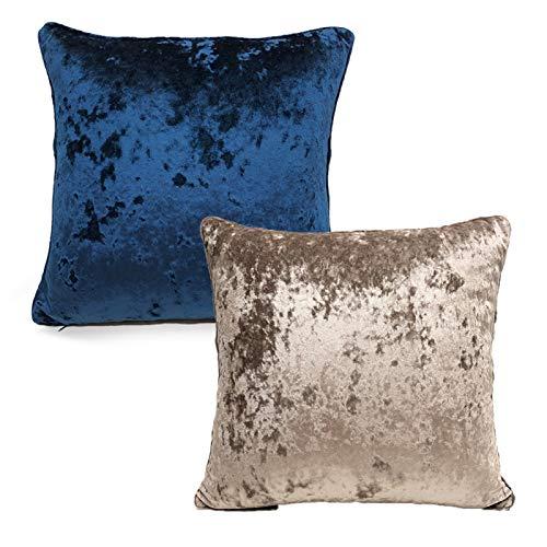 QXbecky Fundas de Cojines Funda de Almohada Cuadrada de Color sólido Simple de Terciopelo de Hielo sin núcleo 1, 2 Piezas Funda de Almohada de Microfibra para decoración de sofá 45 cm