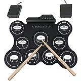 Weiming Equipo de batería Roll-Up Portable electrónica Drum Set Junior para niños Principiantes 9 cómodo Tambor Almohadillas de Silicona 2 del pie del Pedal