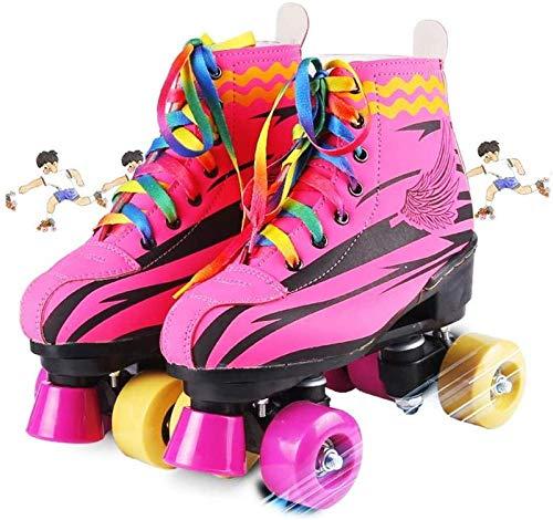 WEDSGTV Patines Cuádruples Niños Adultos Patines De Ruedas De Doble Fila Zapatillas De Deporte Al Aire Libre para Niñas Juventud,Pink-33