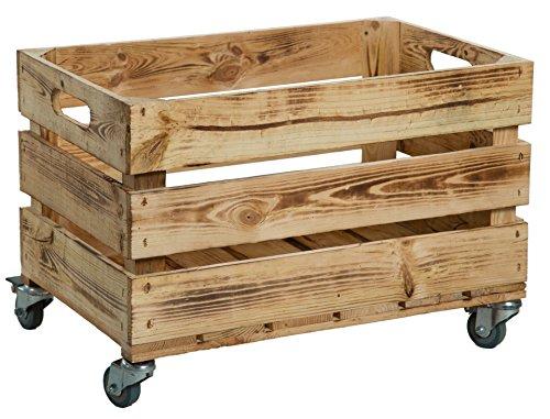 Nueva Kistenkolli Caja de plástico con ruedas (/caja, manzana caja, caja de vino del antiguo país + + + natural Dimensiones Aprox. 54x 35x 35cm