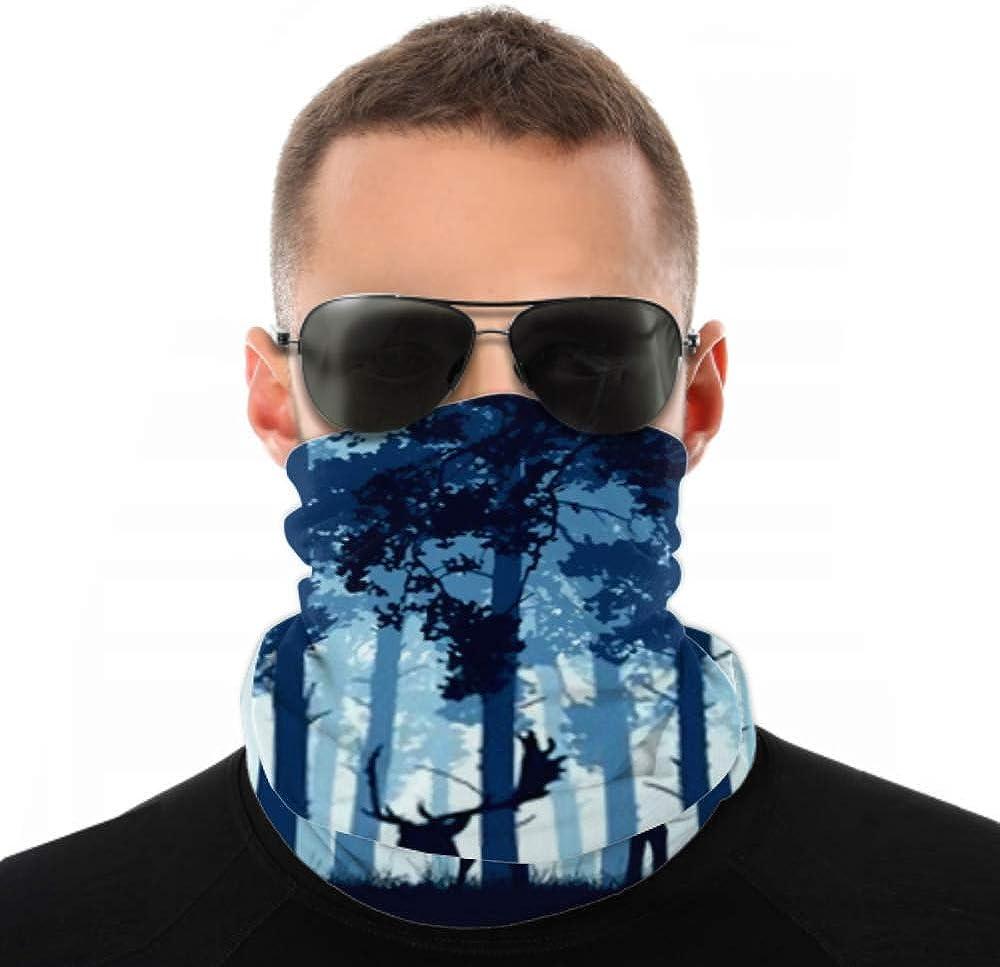 Headbands For Men Women Neck Gaiter, Face Mask, Headband, Scarf Blue Coniferous Forest Silhouette Fallow Deer Turban Multi Scarf Double Sided Print Bandanas For Men For Sport Outdoor