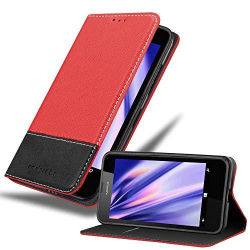 Cadorabo Hülle für Nokia Lumia 630 in ROT SCHWARZ – Handyhülle mit Magnetverschluss, Standfunktion & Kartenfach – Hülle Cover Schutzhülle Etui Tasche Book Klapp Style