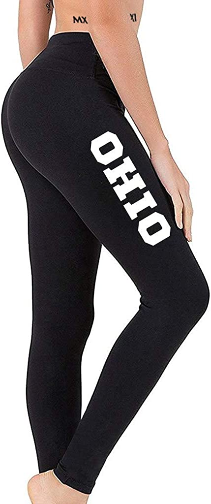 Koyotee Junior's Ohio State V705 Black Athletic Workout Leggings Thights One Size (S-L)