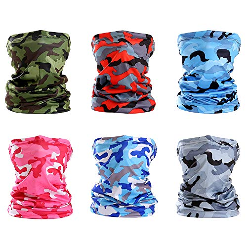 Unisex Seamless Mouth Cover Bandana Balaclava for Outdoors 6pcs Magic Wide Wicking Headbands -  Multicoloured -  M