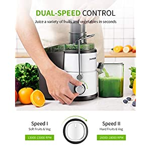 """SHARDOR Centrifugal Juicer, Juice Extractor with Big Mouth 3"""" Feed Chute, Easy Clean Juicer with 2-Speed Control, Juicer Machine for Fruits and Vegetables, Anti-drip, BPA-Free, White"""