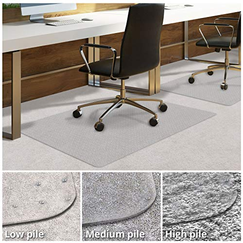 Office Chair Mat for Carpeted Floors | Desk Chair Mat for Carpet | Clear PVC Mat in Different Thicknesses and Sizes for Every Pile Type | Low-Pile 30'x48'