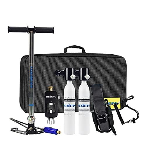 JCMY Equipo de Buceo Oxígeno válvula de la Botella de Buceo respiración respirador portátil de Buceo Tanque 0.5L Equipo de Buceo-2 (Color : Blanco)