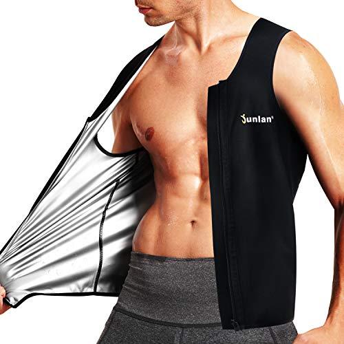 Junlan Chaleco de sauna para hombre, chaleco de entrenamiento de cintura con cremallera para atrapar el calor, traje de sauna, camiseta sin mangas para hombres