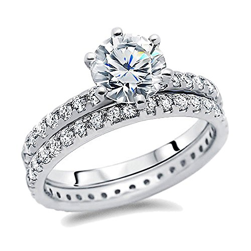 Diamoni Collection 2.5 Carat Simulated Diamond Round Solitaire Ring & Band Platium Plated Sterling Silver Wedding & Engagement Ring ( Size 5 to 9)