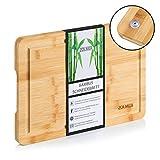 Zolmer Bambus Schneidebrett mit Saftrille 33 x 24 x 2 cm I Bamboo Holzbrett rutschfest I Küchen...