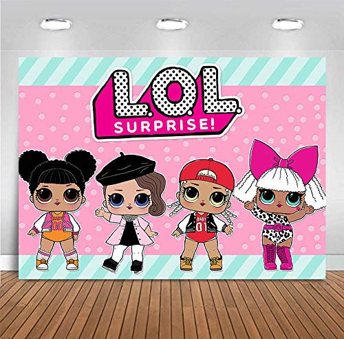Sweet Hot Pink Photography Backdrop Vinyl Doll Toy Girls Surprise for Newborn Baby Shower Party Banner Children Birthday Photo Backgrounds Decoration Cake Table Photo Booth Props Supplies 5x3ft
