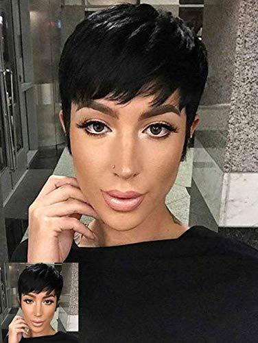 court Noir Pixie Coupe Cheveux synthétiques Perruque courte pour femme noire Naturel Cheveux courts Perruques