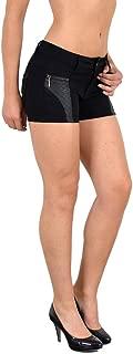 Damen Hotpants Damenshorts Leder Optik Hot Pants Damen Shorts kurze Hose H35