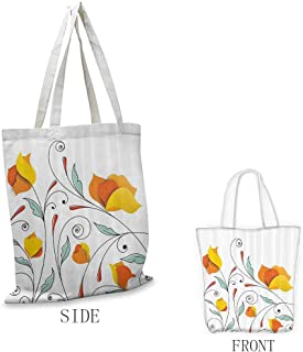Tote, Eco-Friendly Floral Bouquet with Swirled Branches Romantic Paper Flowers Origami Autumn Blooms Image, 16.5