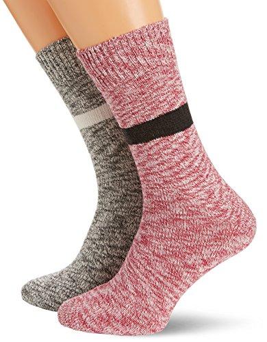 French Connection Herren Travis 2PK Socken, Mehrfarbig (Charcoal/Beaujolais), One (Herstellergröße:One Size)