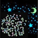 Stickonn Multi Colour Fluorescent Glow in The Dark Hollow Star Wall Sticker MoonStar-50