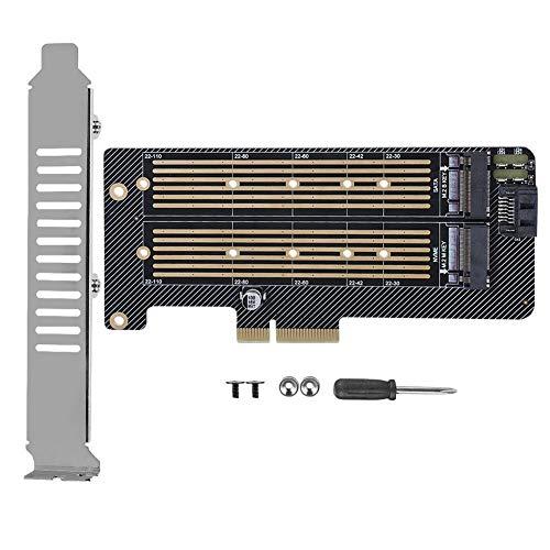 Bewinner1 PCIE X4 Adapterkarte, M.2 NVMe SSD NGFF zu PCIE X4 Kartenkonverter Karte Verdickte Leiterplatte NVME + AHCI Dual Interface PCIE + SATA Dual Interface Dual Protocol