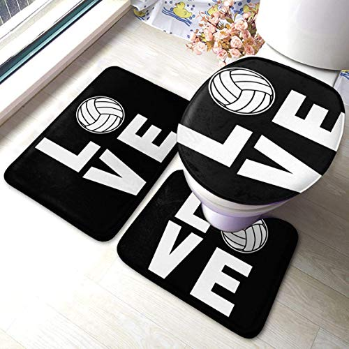 BLSYP Stützteller Love Volleyball Soft Comfort Flannel Bathroom Rug Mats Set 3 Piece Soft Non-Slip with Backing Pad Bath Mat + Contour Rug + Toilet Lid Cover Absorbent