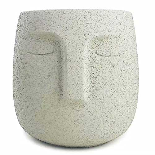 Concrete Head Planter, Urn for Plants, Modern Indoor/Outdoor Cement Face Vase, Statue Plant Pot for Home Decoration (5.5'' Tall, Gray)