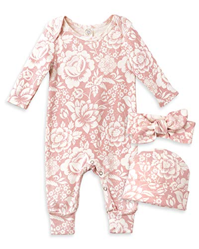 Tesa Babe Baby Girl Clothes Soft Cotton One-Piece Coverall Romper Jumpsuit Pajamas Gift Set for Infant Girls Newborn to Toddlers Floral Print (0-3 months)