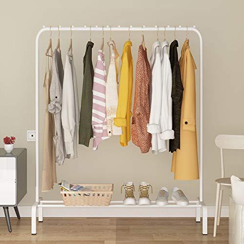YAYI Wäscheständer aus Metall, freistehend, Schlafzimmer-Kleiderständer mit Ablage für Boxen und Schuhe, weiß