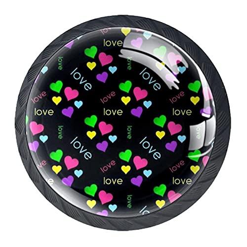 Colorido amor, 4 piezas de pomos de gabinete de cocina ABS estilo Morden manija cajón cajones pomos