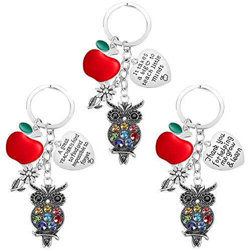 Teacher Gifts for Women - 3PCS Teacher Keychain Teacher Appreciation Gifts, Thank You Gifts for Teachers, Birthday Valentine's Day Christmas Gifts for Teachers