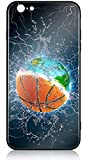iPhone 6s Case iPhone 6 Case HuntHawk Anti-Drop TPU and Hard PC Scratch-Proof Tempered Glass Protector Cover Fit iPhone 6s Cases for Girls Boys Earth and Basketball in Water