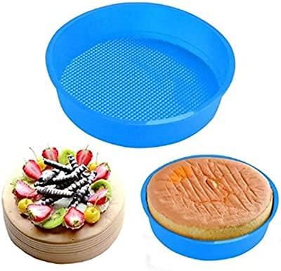 EEEZEEE Round Shape Silicone Baking Cake Mould 1/2 kg, 7 inches Random Color