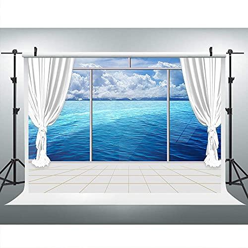 lovedomi 5x3 pies Océano paisaje balcón blanco cortina azul fotografía fondo estudio stand fondo familia vacaciones cumpleaños estudio accesorios fotografía vinilo material
