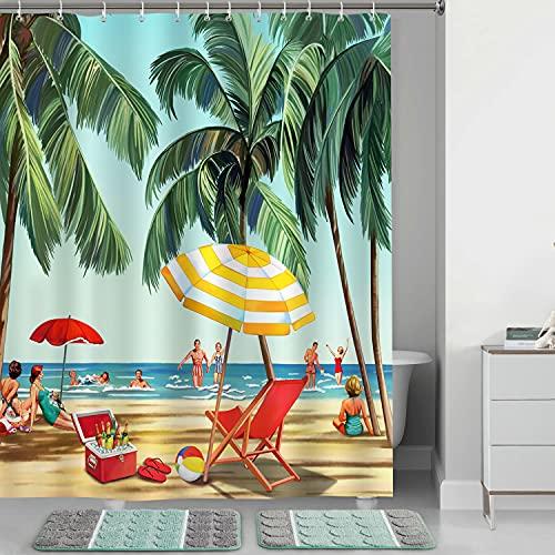 Bonhause Duschvorhang 180 x 180 cm Strand Küsten Palmen Regenschirm Duschvorhänge Anti-Schimmel Wasserdicht Polyester Stoff Waschbar Bad Vorhang für Badzimmer mit 12 Duschvorhangringen