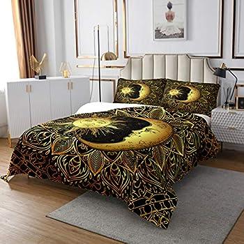 Erosebridal Bohemian Bedspread Queen Size 3D Golden Sun and Moon Printed Bedding Set for Kids Teens Adults Mandala Quilted Coverlet Dreamcatcher Coverlet Set Trippy Boho Hippie Decor Black