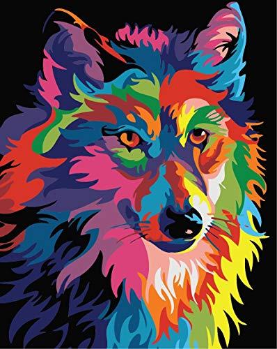 Fuumuui Kit de Pintura por Números Lienzo Digital para Manualidades DIY Lienzo Digital al óleo Regalo para Niños Estudiantes-Lobo Colorido 16 x 20 Pulgadas