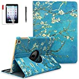 NEWQIANG iPad Case with 360 Degree Rotating Stand Protective Cover and Auto Sleep Wake for Apple iPad 9.7 inch iPad 2 / iPad 3 / iPad 4 Models A1395 A1396 A1397 (iPad 2 3 4, Pear Flower)