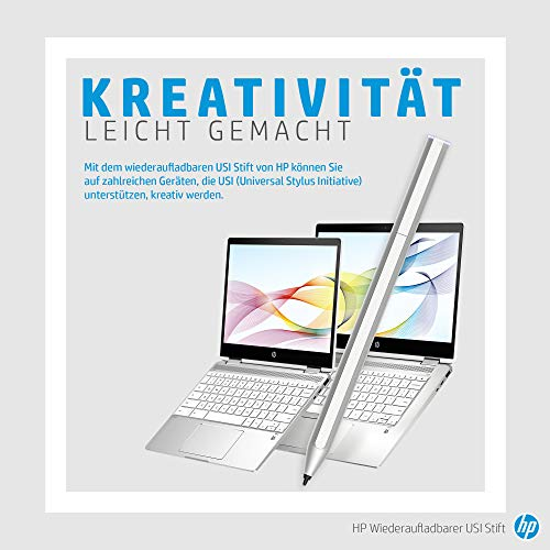 HP USI Pen Digitaler Eingabestift (aufladbar über USB-C; lange Akkulaufzeit, Ladestandanzeige, 2 Ersatz-Stiftspitzen, magnetischer Schaft) silber - 5