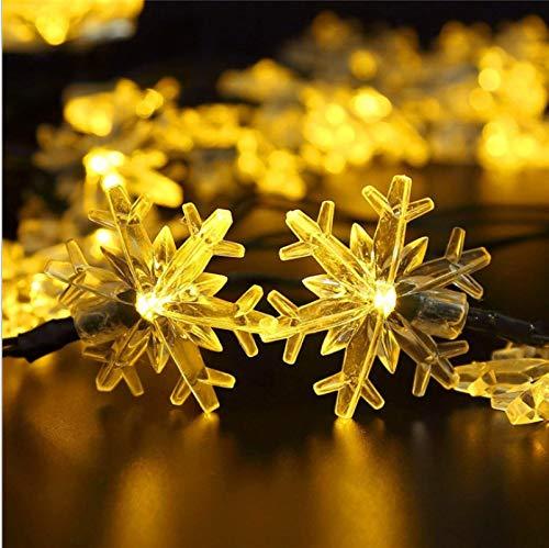 LED Solar Snowflake Light String Decorative Landscape Outdoor Waterproof Garden Light Romantic 5 Meters 20 Lights A