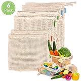 Tyhbelle 6er Set Obst- und Gemüsebeutel Bio-Baumwollgewebe Einkaufsbeutel mit Gewichtsangabe für...