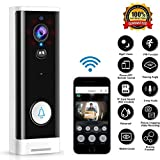 M-TOP Étanche Sonnette Vidéo Intelligente WiFi Interphone sans Fils Longue Portee Doorbell Wireless 1080P HD avec Vision à Distance PIR Vision Nocturne Audio Bidirectionnel B