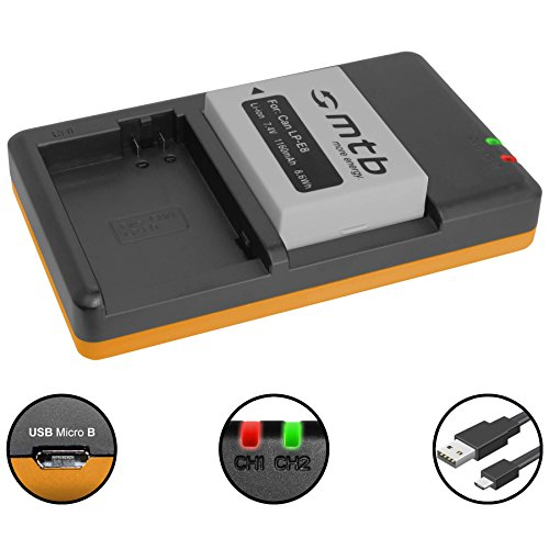 Akku [1160 mAh] + Dual-Ladegerät (USB) für LP-E8 / CanonEOS 700D, 650D, 600D, 550D / Rebel T2i, … - inkl. Micro-USB-Kabel (2 Akkus gleichzeitig ladbar)