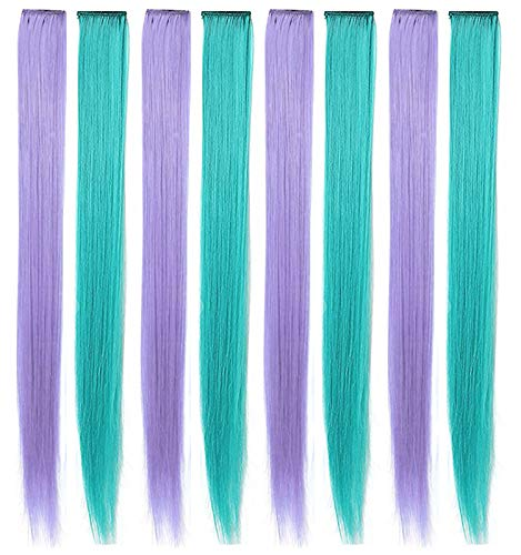 Lavender Pueple&Teal Colorful Hairpieces for Kids Multicolor Highlight Straight Clip in Colored Hair Extensions for Girls and Dolls (Teal Lavender purple)