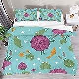 ATZTD Juego de ropa de cama transpirable con diseño de ranas divertidas y hojas de loto de 3 piezas (1 funda de edredón + 2 fundas de almohada) decoración de habitación de microfibra ultra suave