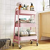 HomeMagic Storage Trolley Cart,3-Tier Multi-Purpose Trolley Organizer Cart with Casters,ABS Rolling Cart Storage Organiser with Ergonomic Handles for Bathroom, Kitchen, Office, Library (Pink)