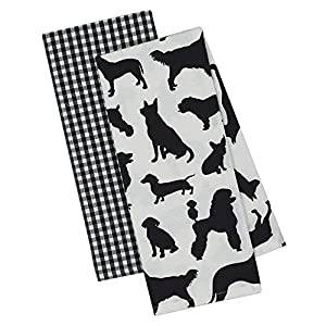 B&W dish towels with dog silhouettes