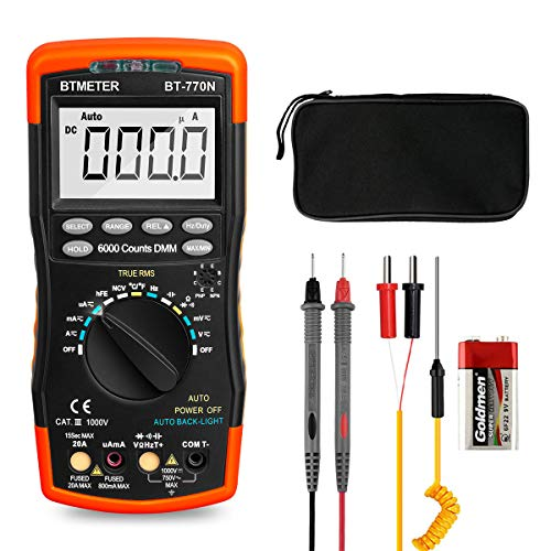 BTMETER BT-770N TRMS Auto Manual Ranging Multimeters, 6000 Counts Digital Multimeter AC DC Amp Ohm Volt Meter hFE LED Capacitor Tester to 99.99mF with Thermometer Backlit