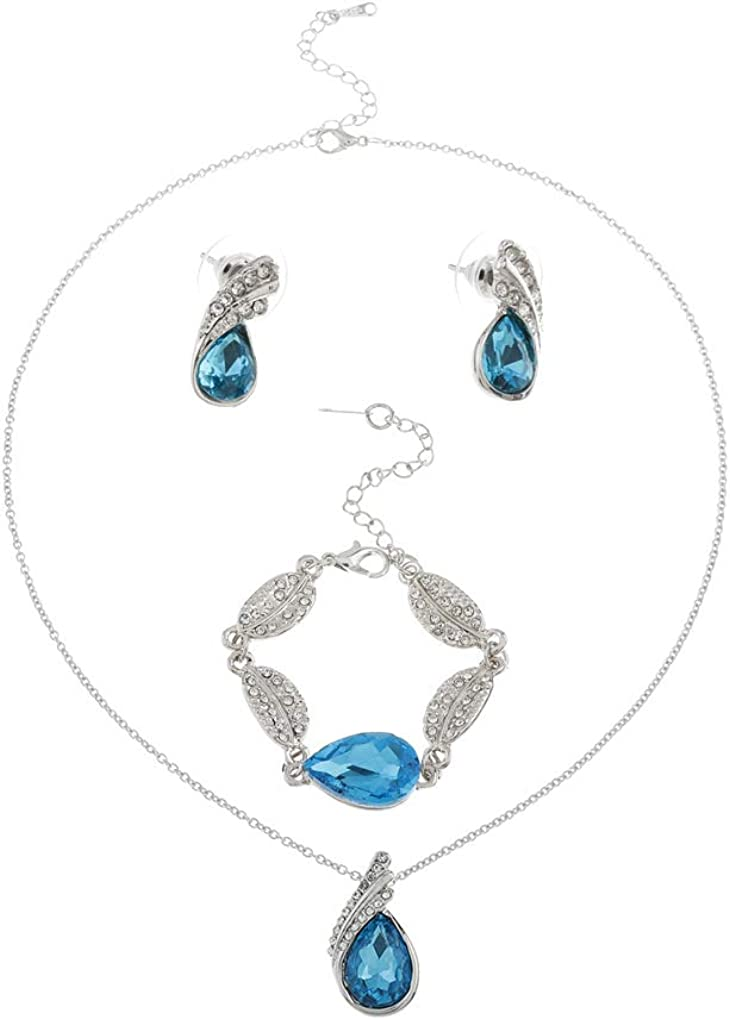 Yalice Fashion Bride Teardrop Crystal Wedding Necklace Bracelet Earrings Rhinestone Bridal Jewelry Sets for Women and Girls