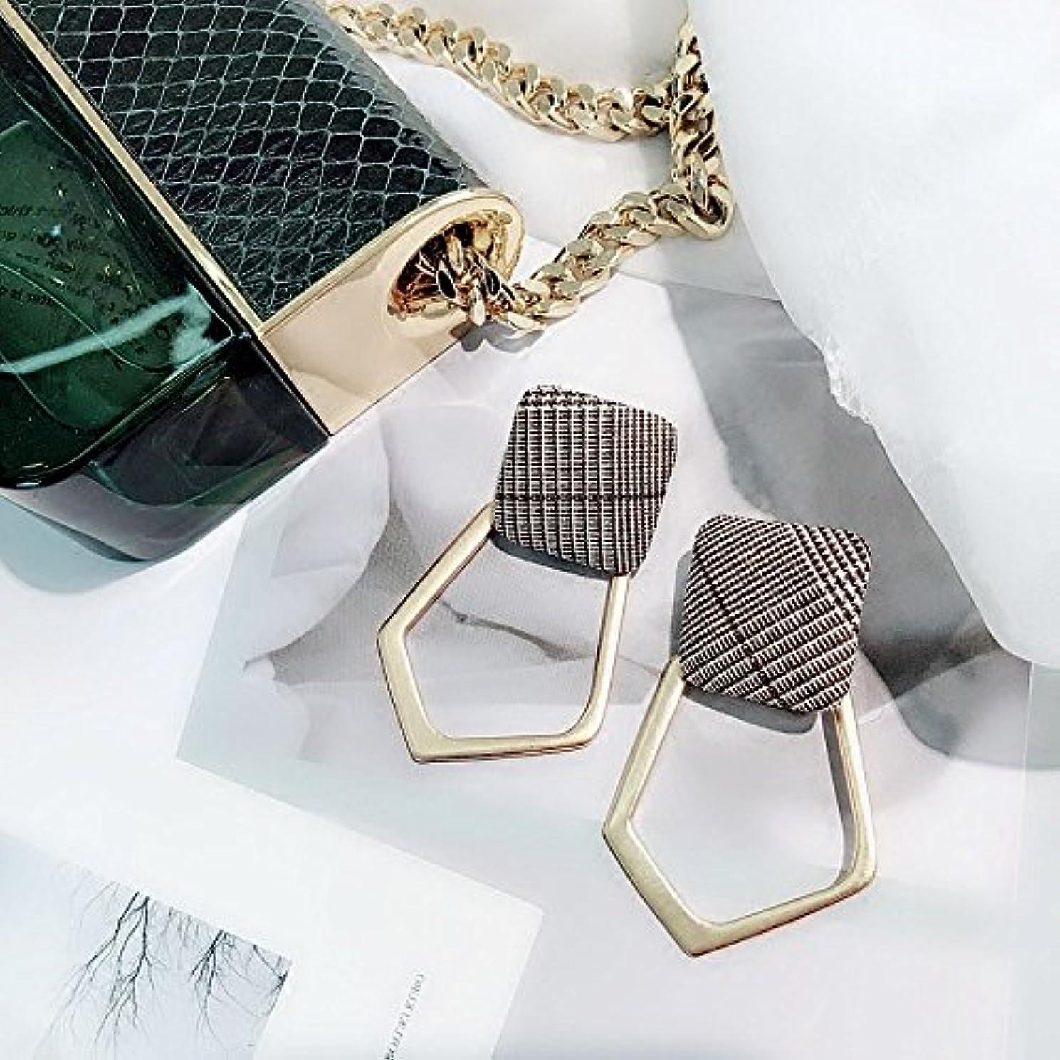 Plaid fabric squares geometric earrings irregular hollow metal box-shaped earrings earrings women fashion girls temperament tide